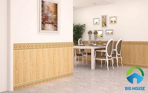 chọn gạch ốp chân tường phòng khách