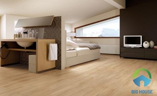 gạch giả gỗ lát nền phòng ngủ hoàn mỹ 1