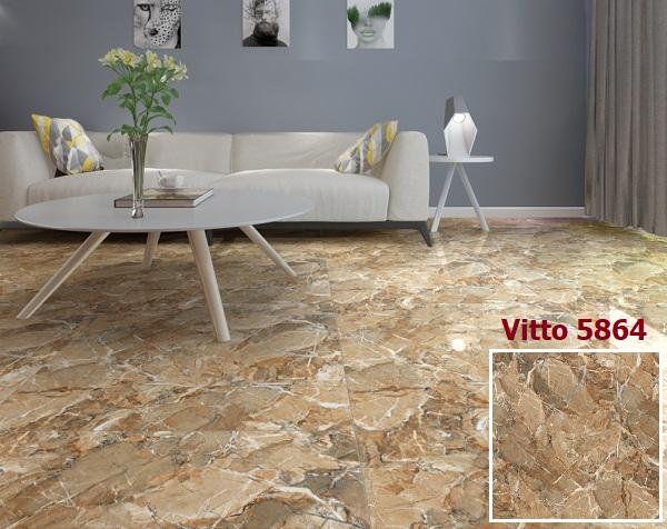 Mẫu gạch Vitto 5864 giả đá tông nâu vàng nổi bật