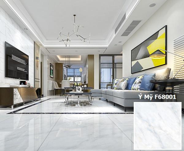 Gạch lát nền phòng khách nhà ống ý mỹ F68001