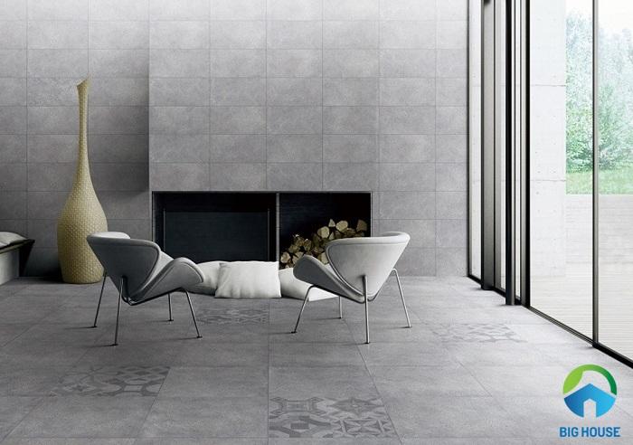cách phối màu gạch ốp tường phòng khách đẹp