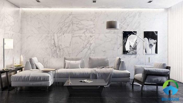 cách phối màu gạch ốp tường phòng khách tương phản 1