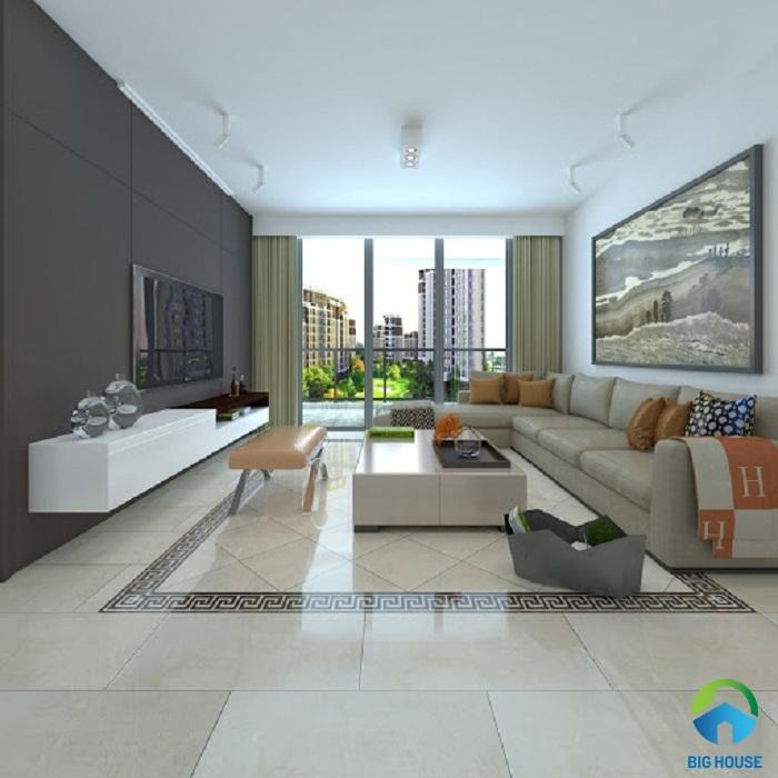 cách phối màu gạch ốp tường phòng khách tương phản