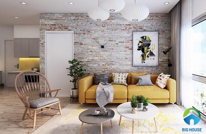 phối màu gạch ốp tường với đồ nội thất