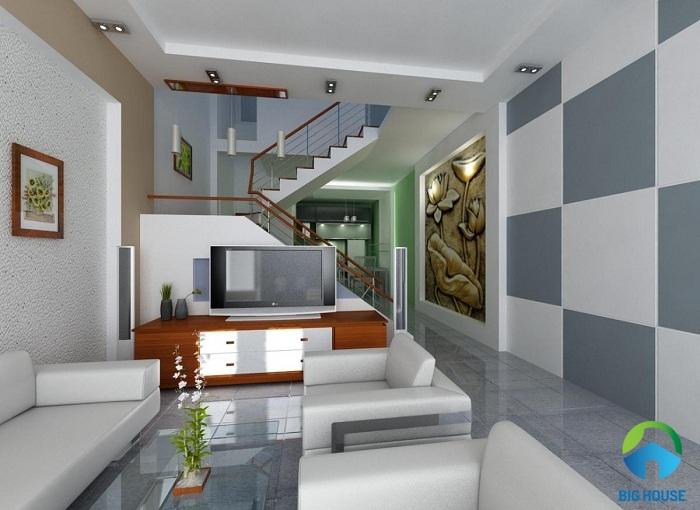 phối màu gạch ốp tường và nội thất