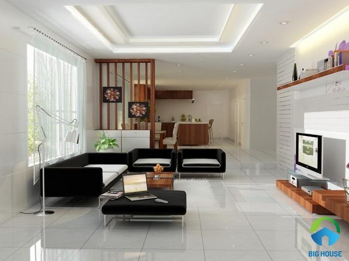 phối màu gạch ốp tường với nội thất