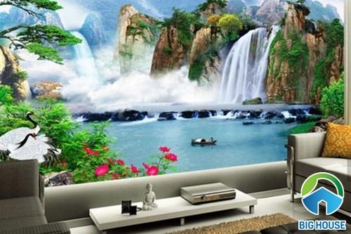 tranh gạch 3D ốp tường phòng khách