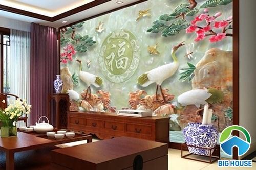10+ mẫu tranh gạch 3D ốp tường phòng khách đẹp, hợp phong thủy nhất