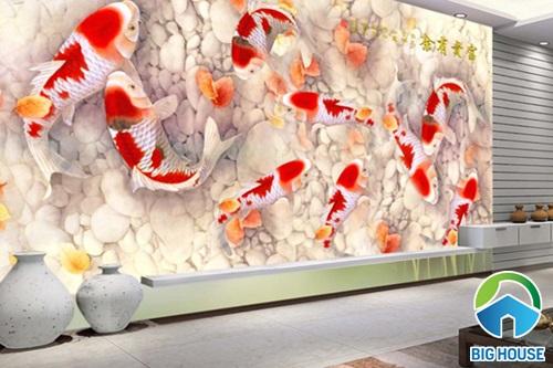 Mẫu gạch ốp 3D phòng khách