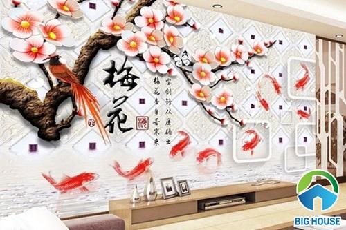 Gạch ốp tường 3D phòng khách