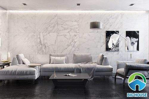 phối màu gạch ốp tường phòng khách và gạch nền