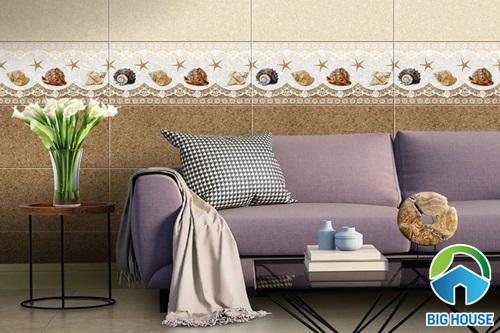 Cách phối màu gạch ốp tường phòng khách với gạch ốp chân tường