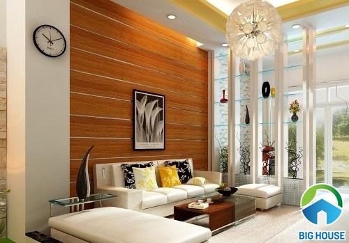 gạch ốp tường vân gỗ phòng khách
