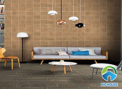 Gạch thẻ giả gỗ ốp tường phòng khách