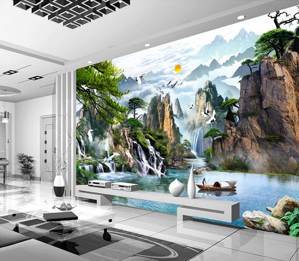 Phòng khách sử dụng gạch tranh 3D thác nước ấn tượng