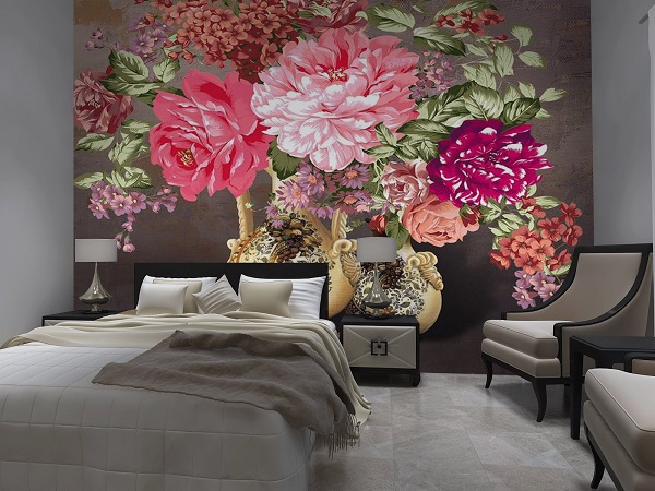 Mẫu gạch tranh hoa mẫu đơn cho phòng khách ấn tượng