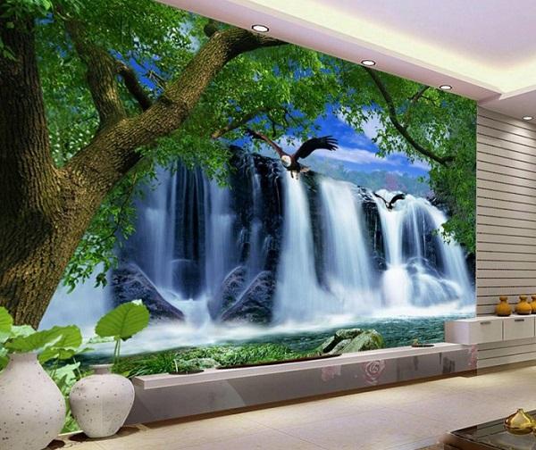 Tranh phong cảnh thác nước ấn tượng và xinh đẹp